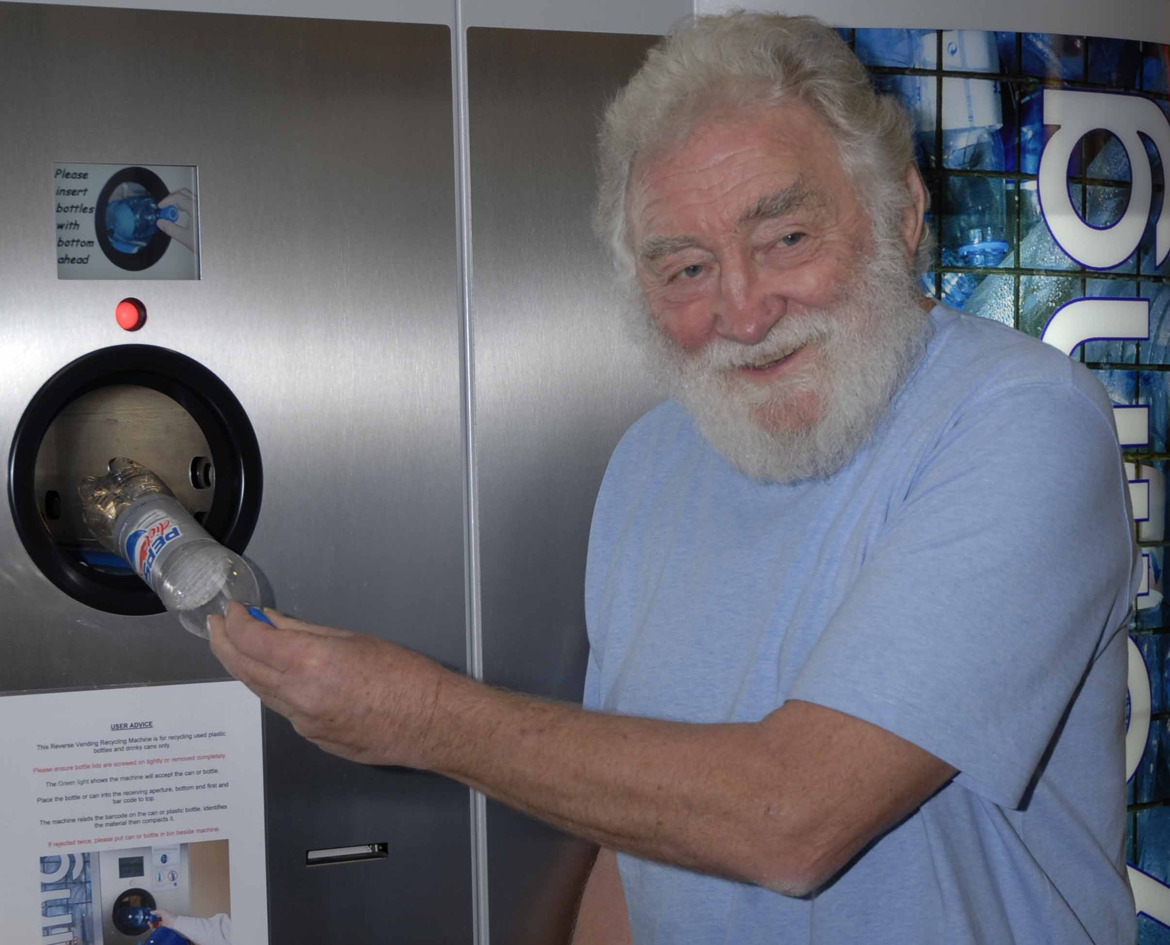 Professor David Bellamy believes initiatives like the Reverse Vending Machines installed in the shopping centre embody his beliefs in how we can work together to save the planet.
